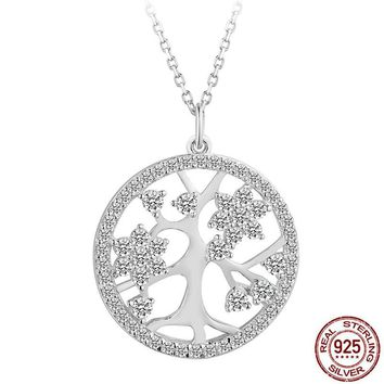 Brighton Origin Classic Jewelry Bling AAA CZ Hollow Tree of Life 925 Sterling-Silver Round Necklaces Pendant Women Vintage Charm
