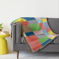 Cubist Quilt in Spring Colors Throw Blanket