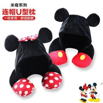 Disney Mickey Minnie Mouse Cartoon Hooded U-shaped Neck Pillow Office Lunch Break Portable Pillow Men and WomenBirthday Gifts