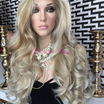 Pale blond highlighted Swiss Lace Front Wig 24