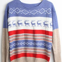 Little Elk Spell Color Bat Sleeve Sweater Blue$42.00