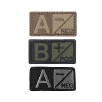 B Blood Type Patch Negative (6 Pack) Color- OD Green-Black