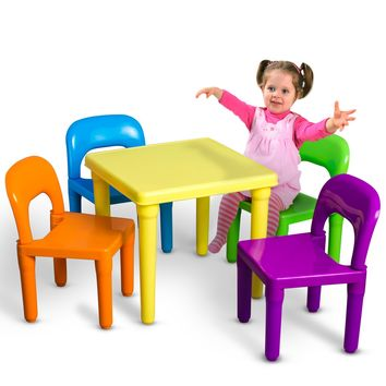 OxGord Kids Table And Chairs Play Set For Toddler Furniture Indoor Or Outdoor
