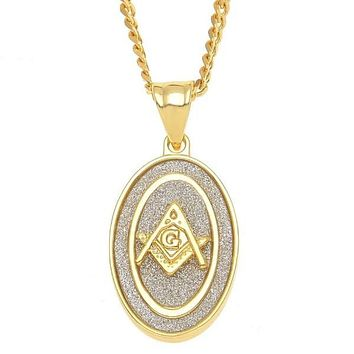Oval Masonic Square Compass Pendant Gold Necklace