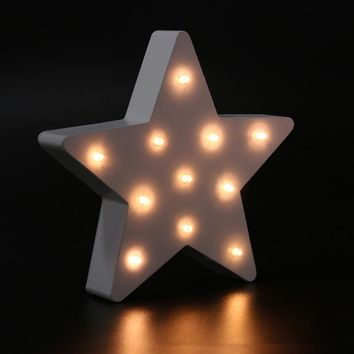 Star Shape LED Wooden Marquee Light Battery Operated LED Marquee Sign for Home Christmas Decorations Decorative Letters Light