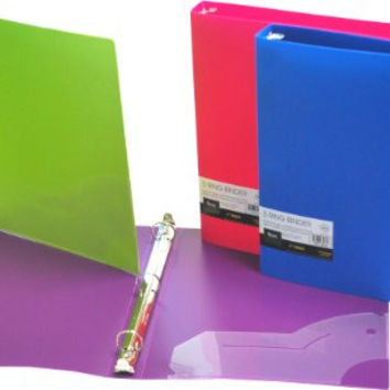 Filexec 3 Ring Binder, 1 Inch Capacity, Opaque, Letter size, Pack of 4, Blue, Hot Pink, Purple, Green (50162-6497)