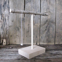Small wood T-stand for holding jewellery, necklaces, scarves, bowties