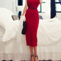 Ladylike Scoop Neck Solid Color Sleeveless Women's Sweater Dress