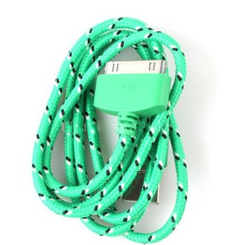 For iPhone 4s 4 Green Color Braided Fabric Charger Cable USB Data Sync Charging Cable Charging Cord with High Quality