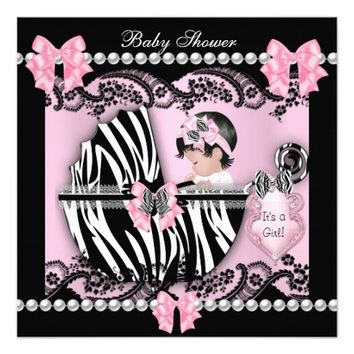"""Baby Shower Cute Baby Girl Pink Zebra Lace 5.25"""" Square Invitation Card"""