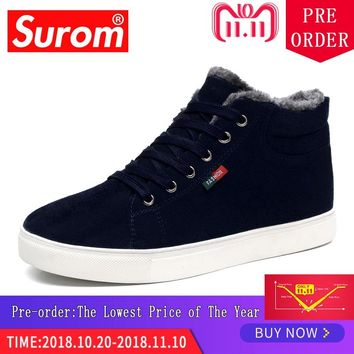 Surom Men's Boots Ankle Leather Casual Shoes Out Door Warm Basic Winter Boots Men Non-slip rubber Unisex Shoes Big Size Krasovki