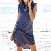 Pure Color O-neck Sleeveless Irregular Short Dress
