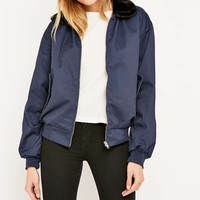 Urban Renewal Vintage Customised Faux-Fur Collar Harrington Navy Jacket - Urban Outfitters