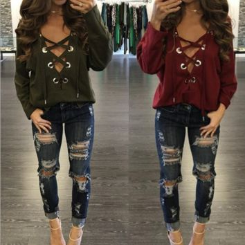 Lace Drawstring Sweat shirt B0015394