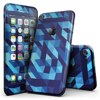 50 Shades of Blue Geometric Triangles - 4-Piece Skin Kit for the iPhone 7 or 7 Plus