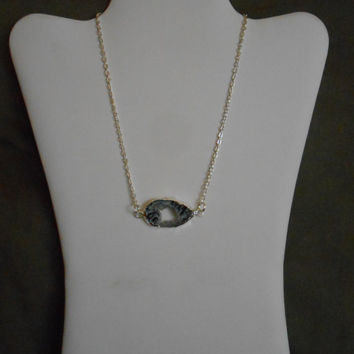 17 inch long Silver Collarbone Necklace with Geode Druzy Slice Pendant