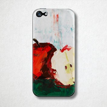 Red Apple - Fruit Phone Case  - iPhone Case - 4S - 5S - Samsung Galaxy - Oil Painting - Phone Accessories - Back to School