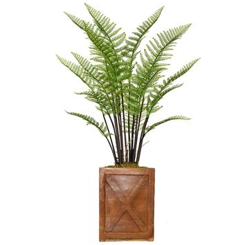 "51"" Fern Artificial Plant with Burlap Kit in 13"" Bronze Square X Fiberstone Planter"