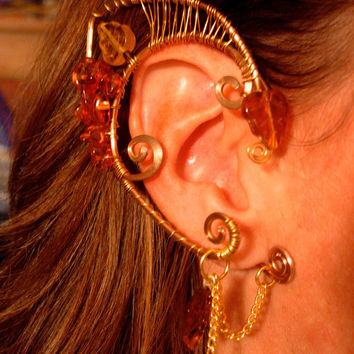Pair of Gorgeous Autumn Faerie Elf Ear Cuffs with Genuine Amber and Glass Leaves Woven with Brass Wire