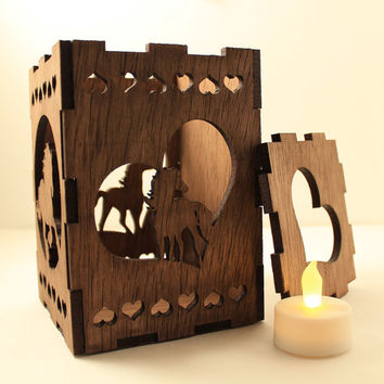 Horse tealight lantern Horse decor Wood candleholder Shadow box Led flameless candle Laser cut candleholder Led light Night light Wood light