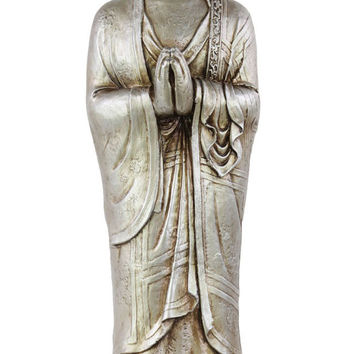 Resin Standing Buddha Figurine with Beaded Ushnisha in Anjali Mudra on Lotus Base Glaze Finish Silver