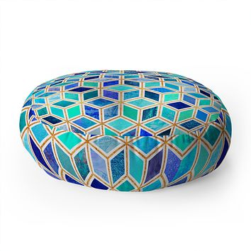 Elisabeth Fredriksson Magic Blue Floor Pillow Round