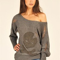 Randall Skull Sweater - Grey at Necessary Clothing