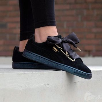 "Puma Suede Heart Satin "" Black """