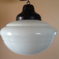 Antique Hanging Church Industrial or School House Pendant Light Milkglass 1 Of 2