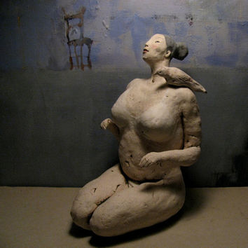 Woman with a Bird/ Unique Sitting Colorful Ceramic Sculpture