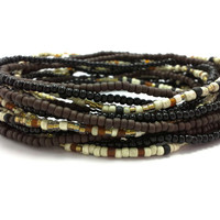 Seed bead wrap stretch bracelets, stacking, beaded, boho anklet, bohemian, stretchy stackable multi strand, black brown ivory white gold