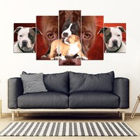 Pit Bull Terrier Print- Piece Framed Canvas- Free Shipping
