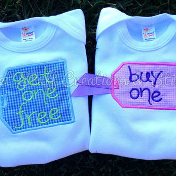 Buy One, Get One Free Twin Onesuits- Perfect Baby Shower Gift - choose boy/boy, girl/girl or boy/girl