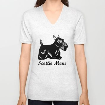 Scottie Mom Unisex V-Neck by Artist Abigail