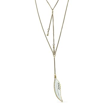 Carved Gold Tone Feather Leaf Multi Chain Necklace Layer Look Lariat