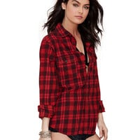 Plaid Convertible Collar Long Sleeve Blouse