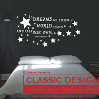 Vinyl Wall Decal - In DREAMS We Enter a WORLD that's Entirely Our Own, Albus Dumbledore quote, Harry Potter JK Rowling
