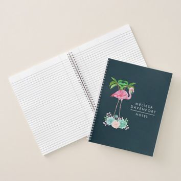 Pink Flamingo Palm trees and Floral Succulents Notebook