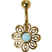 14G Steel Gold Filigree Flower Navel Barbell