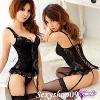 Sexy Lingerie Black Costume Corset dress+stocking+garters+G string Halter Outfit