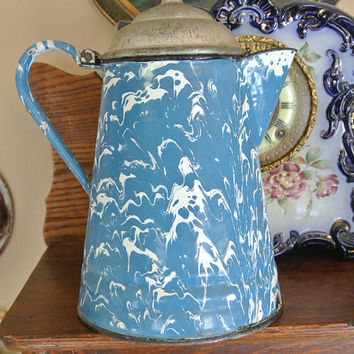 Graniteware Coffee Pot Boiler Antique Enamelware Blue White Swirl Rustic Farmhouse Country Camping Cookware Cooking Collectible