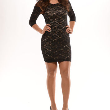 3/4 Sleeve Lace Shimmer Dress - Black / Nude | Fashion Nova