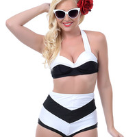 Black & White Yvette Swim Bra - Unique Vintage - Prom dresses, retro dresses, retro swimsuits.