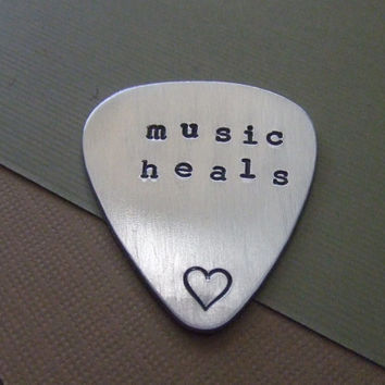 Personalized Guitar Pick  - Music Heals - Heart
