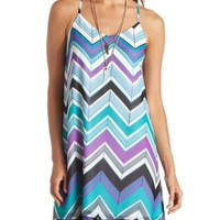 Strappy Chevron Chiffon Shift Dress by Charlotte Russe - Teal Combo