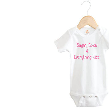 Sugar, Spice, & Everything Nice Onesuit // Baby Girl Onesuit // Nursery Rhyme // Baby Onesuit