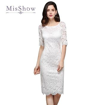 Gorgeous New Little White Cocktail Dresses 2017 Scoop Sheath Knee Length Full Lace Party Gowns Bling Homecoming Gowns Cheap