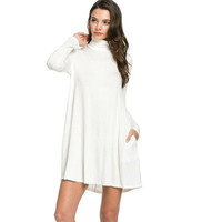 Turtle-Neck Pocket Swing Dress Snow White