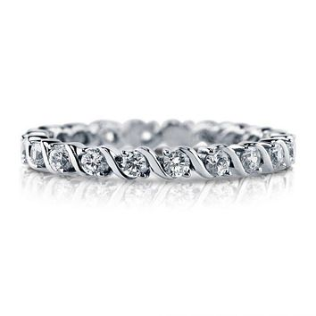 A Perfect 2.55TCW Russian Lab Diamond Full Eternity Ring