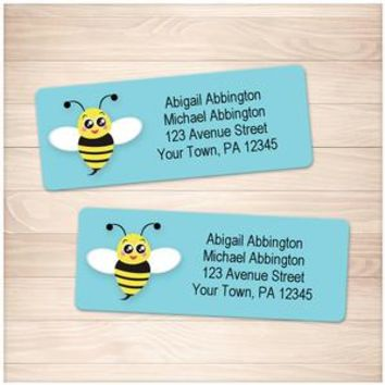 Cute Turquoise Bee Address Labels - Printable